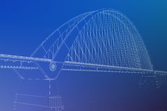 il wireframe 3d rende di un ponte Fotografie Stock Libere da Diritti
