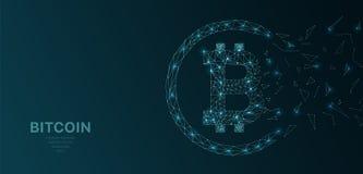 Il wireframe poligonale ingrana futuristico il segno cripto di concetto del bitcoin su fondo scuro Linee di vettore, punti e form royalty illustrazione gratis