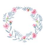 Il withpink floreale della corona dell'acquerello fiorisce, foglie e brunch Fotografia Stock Libera da Diritti
