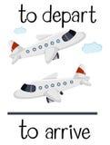 Il wordcard opposto per parte ed arriva illustrazione vettoriale