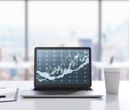 Il y a un ordinateur portable avec le diagramme de forex sur l'écran, tampon et une tasse de café sur la table rendu 3d Bureau mo Photos stock