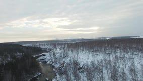 Il y a un vol aérien de bel hiver au-dessus de chaîne de montagne Le paysage est étonnant Une forêt dans la neige partout dans clips vidéos