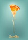 Il yogurt ed il frullato arancio mungono con frutta, il concetto del succo, illustrazione di vettore Immagini Stock Libere da Diritti