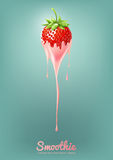 Il yogurt ed il frullato della fragola mungono con frutta, il concetto del succo, illustrazione di vettore Immagine Stock Libera da Diritti
