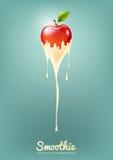 Il yogurt ed il frullato rossi di Apple mungono con frutta, il concetto del succo, illustrazione di vettore Immagini Stock