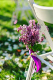 Ilacbloemen zoals decoratie op huwelijksceremonie Stock Afbeeldingen