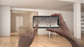 Ilar det hem- kontrollsystemet för fjärrkontrollen på ett digitalt telefonminnestavlan Apparat med app-symboler Inre av den minim royaltyfri foto
