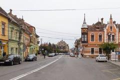 Ilarie Chendi街在老城Sighisoara在罗马尼亚 免版税图库摄影