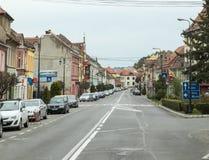 Ilarie Chendi街在老城Sighisoara在罗马尼亚 免版税库存照片