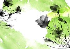 Ild bloeit, gebied, tuin - lelie, silhouetpapavers, rozen stock illustratie