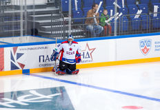 Ildar Mikhometov (90), goalkeeper of CSKA Legend team. RUSSIA, MOSCOW - APRIL 27, 2015: Ildar Mikhometov (90), goalkeeper of CSKA Legend team on hockey game CSKA Royalty Free Stock Images