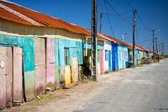Ile d`Oleron. Colored huts of oyster farmers. Charente Martime, France. Agriculture Oyster is a secular activity on the island where the colorful huts of oyster stock photos