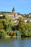 Ile de France, γραφική πόλη του Triel-sur-Seine Στοκ εικόνες με δικαίωμα ελεύθερης χρήσης