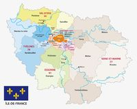 Ile de france administrative and political vector map with flag Stock Image