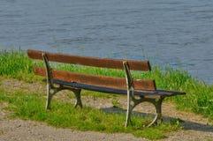 Ile de France, bench by Seine side in Triel Sur Seine Royalty Free Stock Image