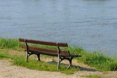 Ile de France, bench by Seine side in Triel Sur Seine Royalty Free Stock Images