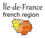 Ile-de-France french region map Royalty Free Stock Photography