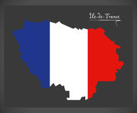 Ile-de-France map with French national flag illustration Royalty Free Stock Image