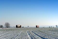 Ile de France road in winter season Stock Photos