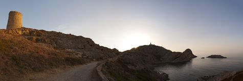 Ile de la彼得拉,石海岛, Ile鲁塞,红色海岛,可西嘉岛,上部可西嘉岛,法国,欧洲,海岛 免版税库存照片