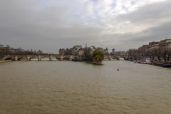 Ile de la Cite as seen from Pont des Arts, Paris, France Royalty Free Stock Photo