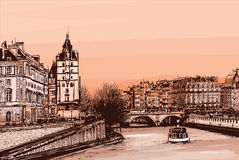 Ile de la cite - illustration Royalty Free Stock Photos