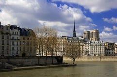 Ile de la Cite and Notre Dame Cathedral, Paris. Notre Dame Cathderal towers about Ile de la Cite with Ile Saint-Louis in the foreground Stock Photography