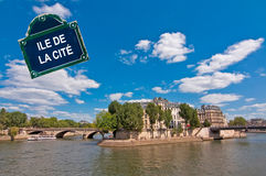 Ile de la Cite on the river Seine Paris, with a street plate Stock Image