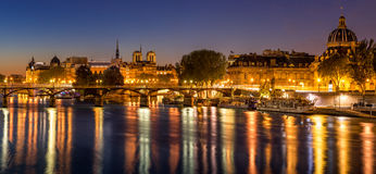 Ile de la Cite, the Seine River and Pont des Arts at Dawn. Paris, France Stock Images
