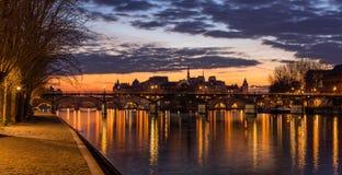 Ile de la Cite, the Seine River and Pont des Arts at Sunrise. Paris, France Stock Images