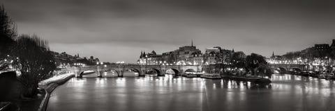 Ile de la Cite, Seine River and Pont Neuf at dawn Black & White. Paris, France Royalty Free Stock Images