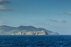 Ile DE La Giraglia op het noordelijke uiteinde van Cap Corse Stock Foto's