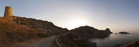 Ile De Los angeles Pietra, Kamienna wyspa, Ile-Rousse, Czerwona wyspa, Corsica, Górny Corsica, Francja, Europa, wyspa Zdjęcie Royalty Free