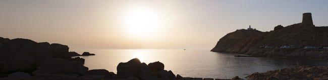 Ile De Los angeles Pietra, Kamienna wyspa, Ile-Rousse, Czerwona wyspa, Corsica, Górny Corsica, Francja, Europa, wyspa Obraz Stock