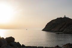 Ile De Los angeles Pietra, Kamienna wyspa, Ile-Rousse, Czerwona wyspa, Corsica, Górny Corsica, Francja, Europa, wyspa Obrazy Stock