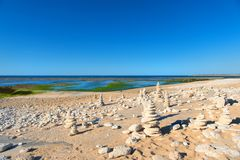 Ile de Ré - North coast with stacked stones Stock Photo