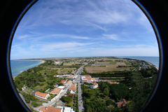 Ile de Re, France. A fish-eye view of the narrow Ile de Re, a small island off the western coast of France Royalty Free Stock Photos