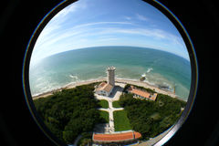 Ile de Re France. Aerial fish-eye view of Ile de Re island lighthouse, France Stock Images
