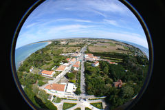 Ile de Re France. Aerial fish-eye view of Ile de Re island lighthouse, France Royalty Free Stock Image