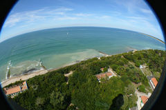 Ile de Re France. Aerial fish-eye view of Ile de Re island lighthouse, France Stock Photography