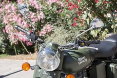 Indian Royal Enfield 500 Classic in Military Green color parked. Ile de re, France - August 22, 2016 : Halft on Indian Royal Enfield 500 Classic in Military Royalty Free Stock Image
