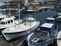 Fishing boats ile de Re harbour. Harbour and fishing boats Ile de Re France. Copyspace Royalty Free Stock Images