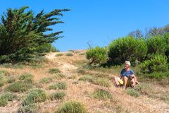Ile de Re - Man and dog in La Couarde sur Mer royalty free stock photography