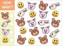 Ile głów zwierzęta Matematycznie gra dla dzieci ilustracji
