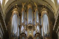 Ile Heilige Louis Cathedral Organ in Parijs Stock Afbeeldingen