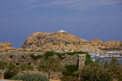 Ile Rousse, rock with lighthouse, Balagne, Northern Corsica, France Royalty Free Stock Photos