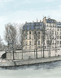 Ile Saint Louis in Paris Stock Photo