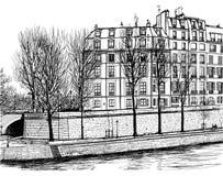 Ile Saint Louis in Paris. Vector illustration of Ile Saint Louis in Paris Royalty Free Stock Images