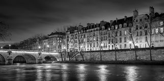 Ile Saint Louis and Pont Marie at night, Paris, France Stock Images