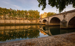 Ile Saint Louis and Pont Marie, River Seine banks in Paris, Fran Royalty Free Stock Photo